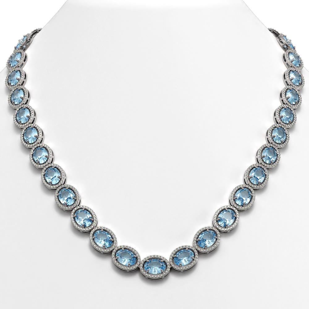 68.17 ctw Sky Topaz & Diamond Halo Necklace 10K White Gold - REF-654N5A - SKU:40679