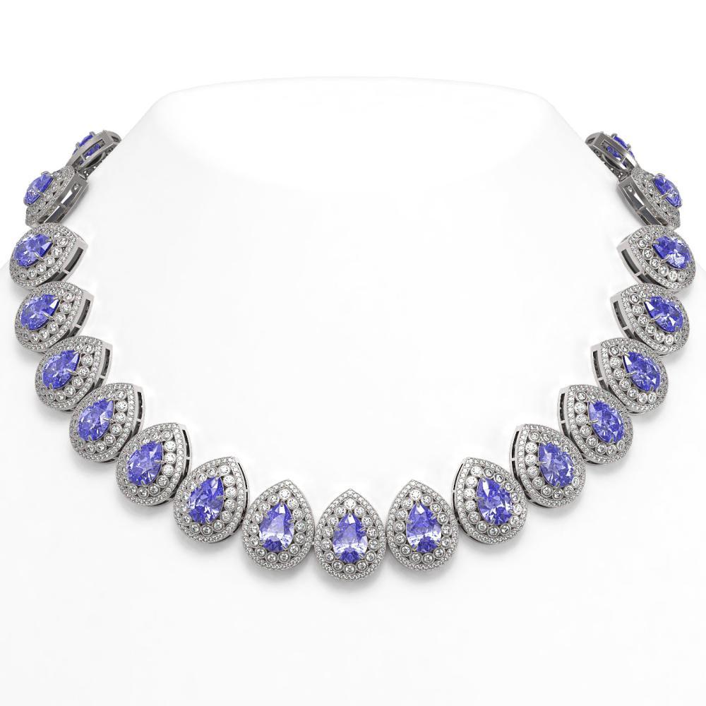 108.42 ctw Tanzanite & Diamond Necklace 14K White Gold - REF-4664M5F - SKU:43235