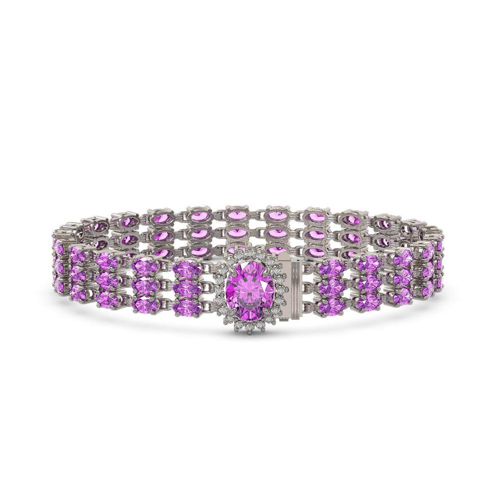 21.49 ctw Amethyst & Diamond Bracelet 14K White Gold - REF-172R3K - SKU:45860