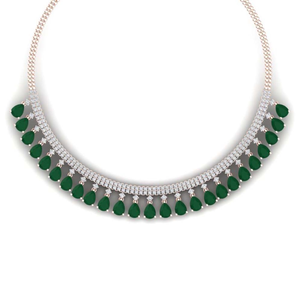 51.75 ctw Emerald & VS Diamond Necklace 18K Rose Gold - REF-1072R7K - SKU:38872