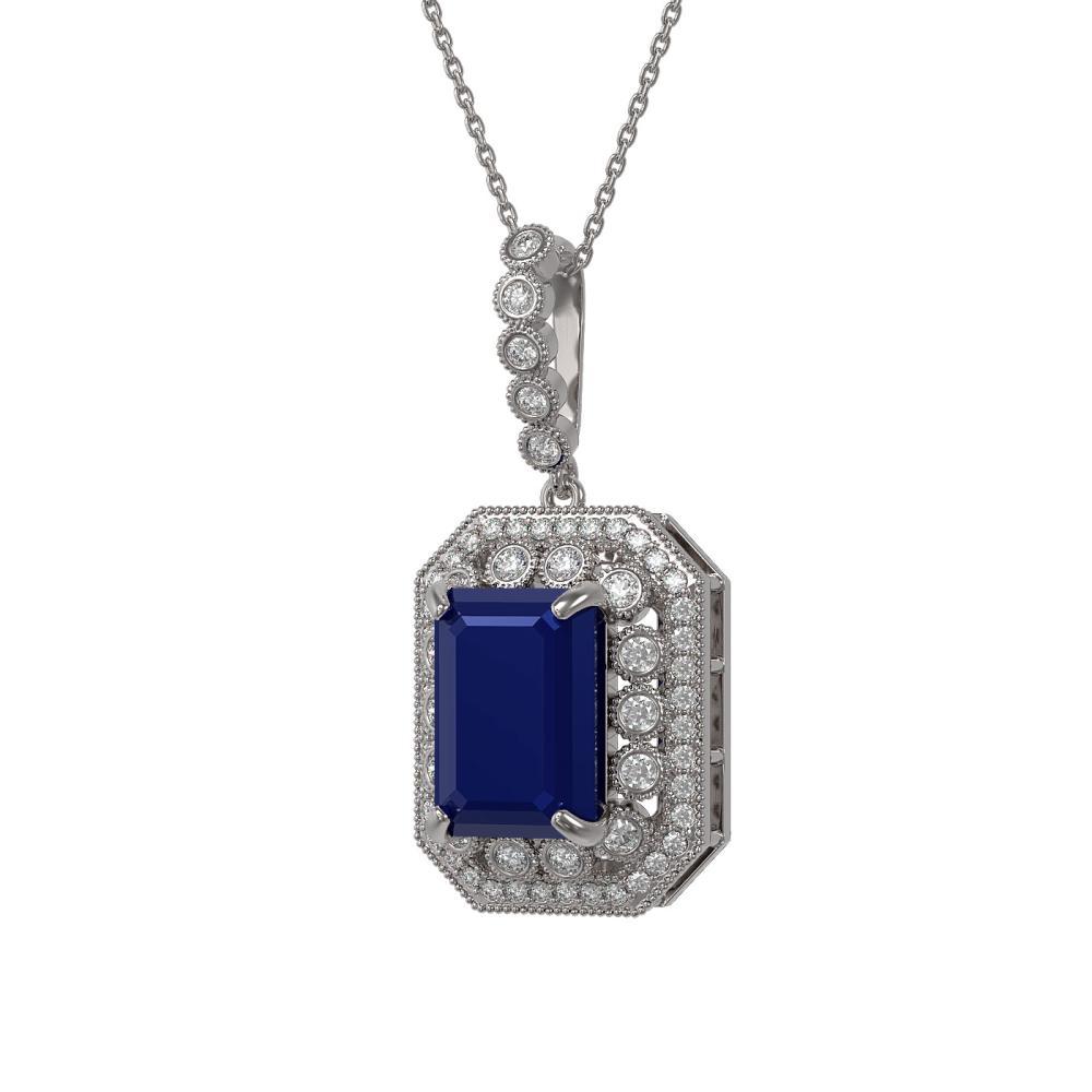 11.99 ctw Sapphire & Diamond Necklace 14K White Gold - REF-239M8F - SKU:43538
