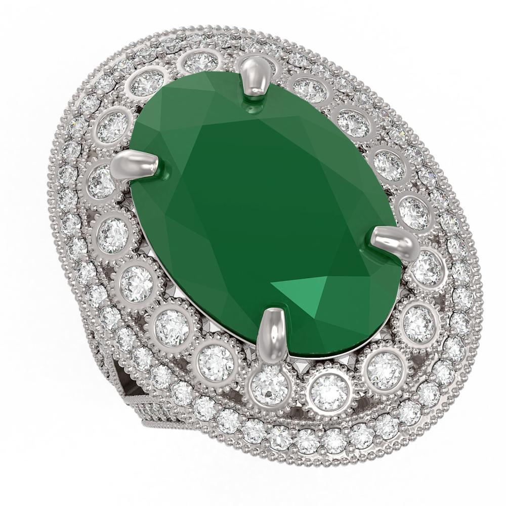 18.3 ctw Emerald & Diamond Ring 14K White Gold - REF-353R6K - SKU:43874