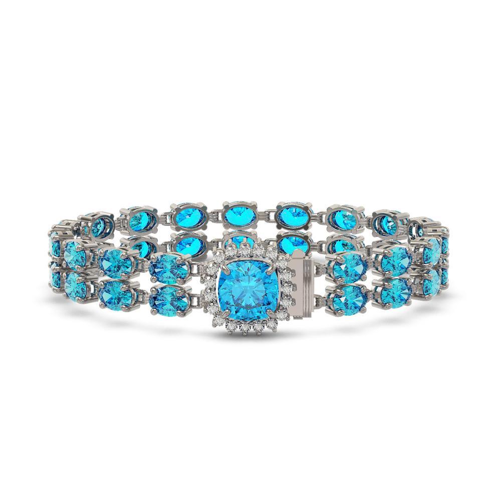 31.78 ctw Swiss Topaz & Diamond Bracelet 14K White Gold - REF-205K3W - SKU:45683