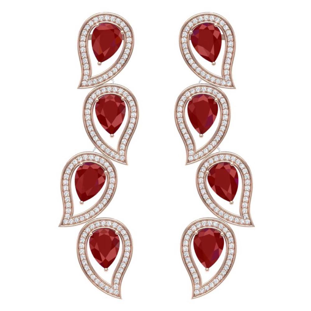 16.44 ctw Ruby & VS Diamond Earrings 18K Rose Gold - REF-385A5V - SKU:39454