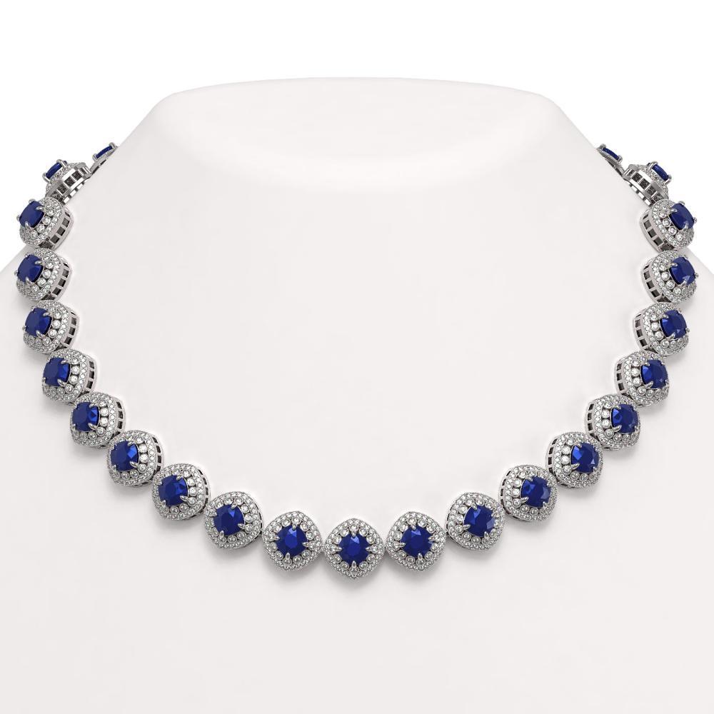 82.17 ctw Sapphire & Diamond Necklace 14K White Gold - REF-1926V9Y - SKU:44102