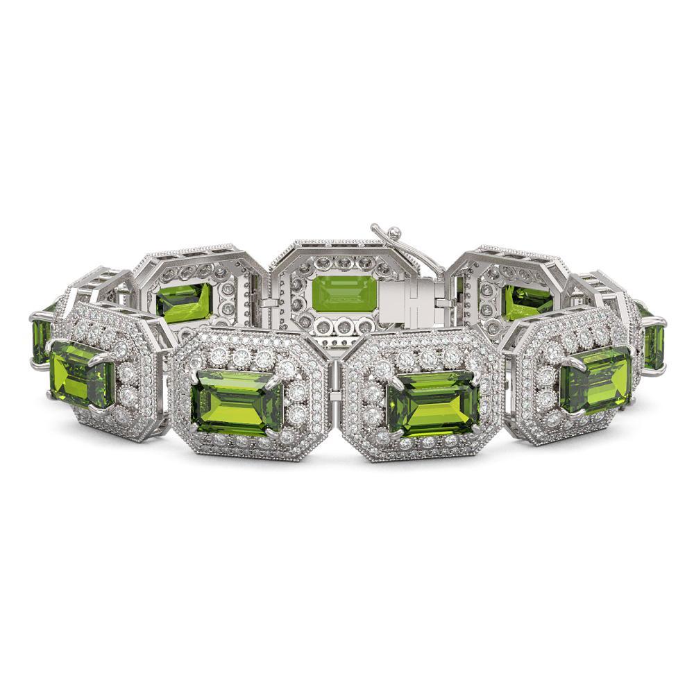 58.5 ctw Tourmaline & Diamond Bracelet 14K White Gold - REF-1623X3R - SKU:43502