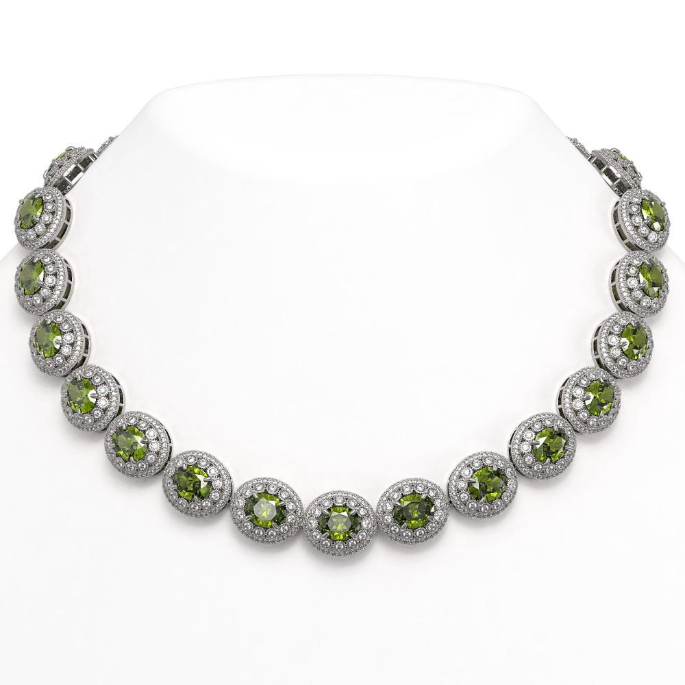 99.35 ctw Tourmaline & Diamond Necklace 14K White Gold - REF-2947X8R - SKU:43703