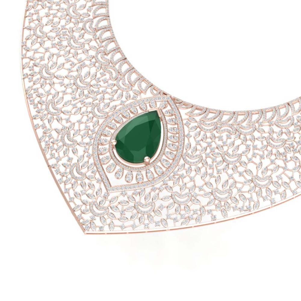 63.93 ctw Emerald & VS Diamond Necklace 18K Rose Gold - REF-2690A9V - SKU:39571