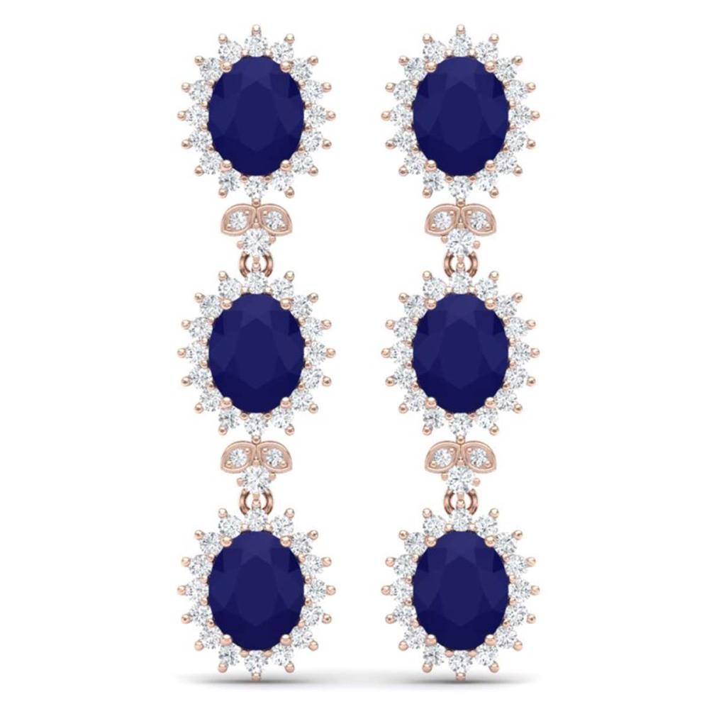 24.52 ctw Sapphire & VS Diamond Earrings 18K Rose Gold - REF-400V2Y - SKU:38644