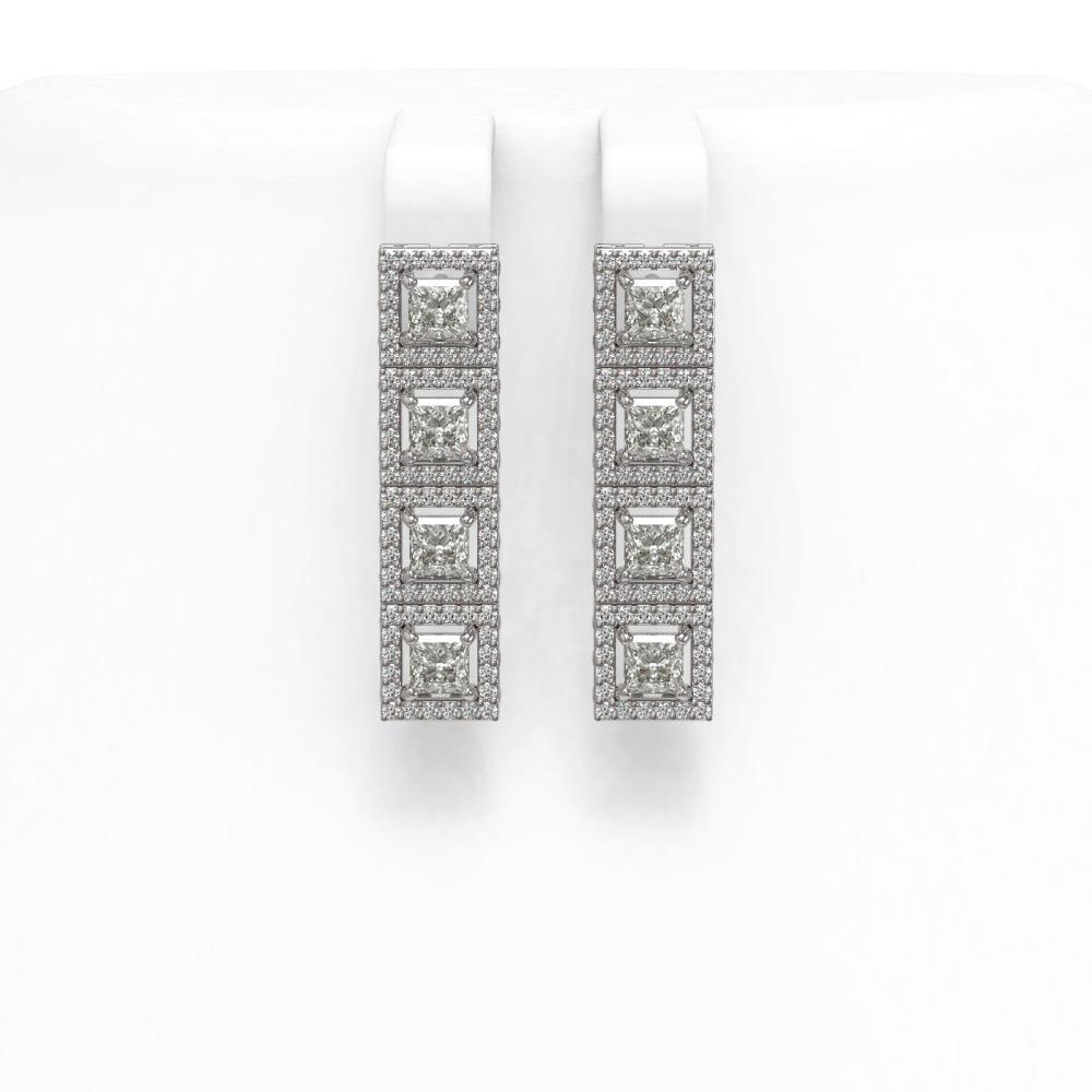 4.7 ctw Princess Diamond Earrings 18K White Gold - REF-393Y4X - SKU:43034