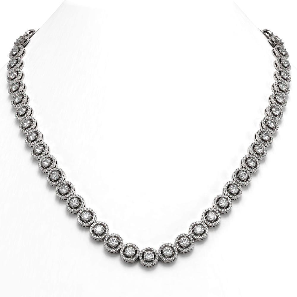 23.95 ctw Diamond Necklace 18K White Gold - REF-1813M5F - SKU:42992