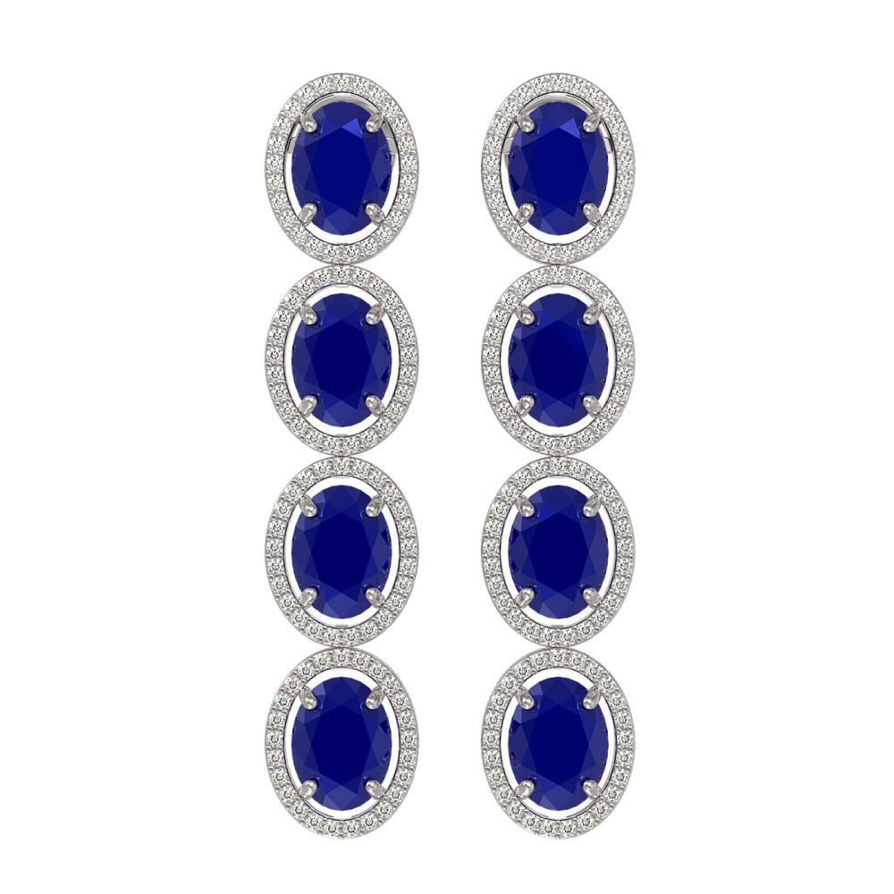 15.68 ctw Sapphire & Diamond Halo Earrings 10K White Gold - REF-183V3Y - SKU:40751
