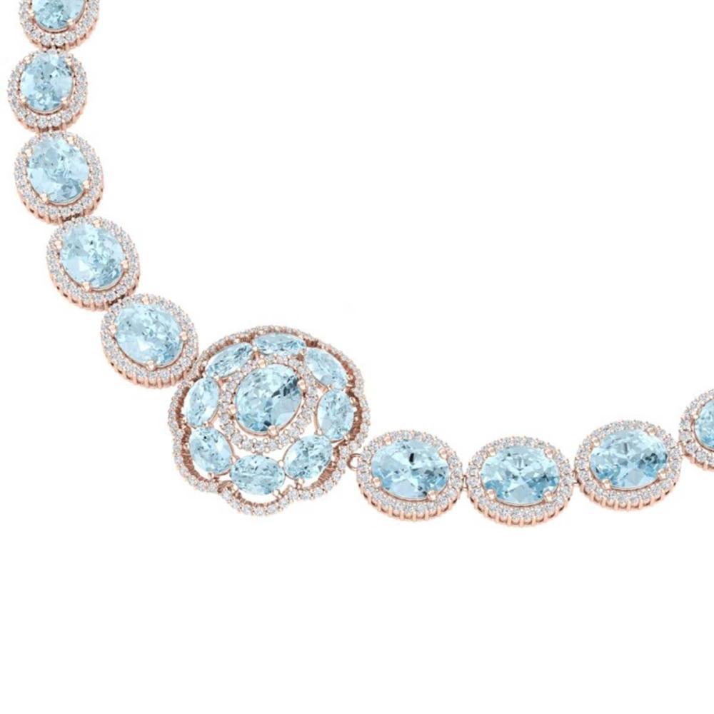 52.67 ctw Sky Topaz & VS Diamond Necklace 18K Rose Gold - REF-1054K5W - SKU:39232