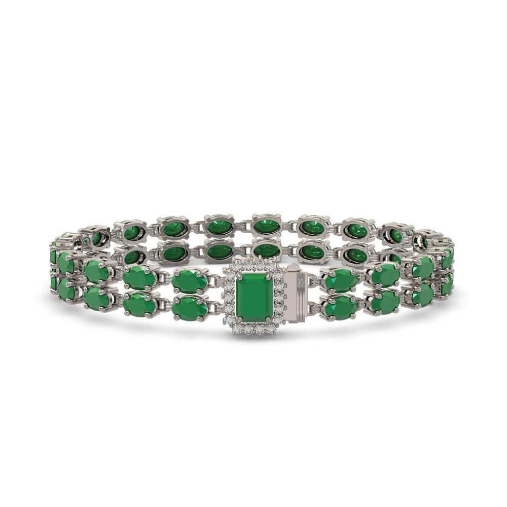29.01 ctw Emerald & Diamond Bracelet 14K White Gold - REF-252R4K - SKU:45764