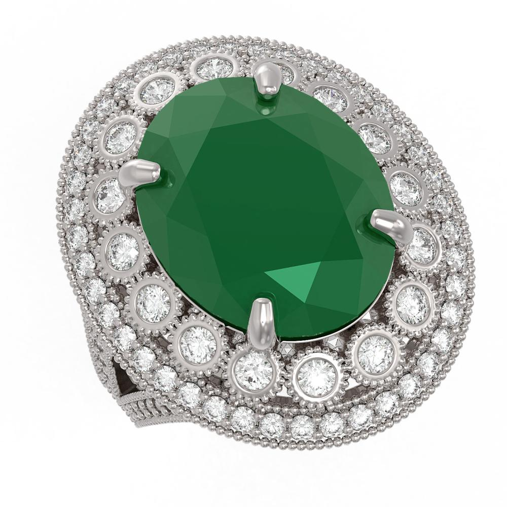 13.85 ctw Emerald & Diamond Ring 14K White Gold - REF-296V7Y - SKU:43844