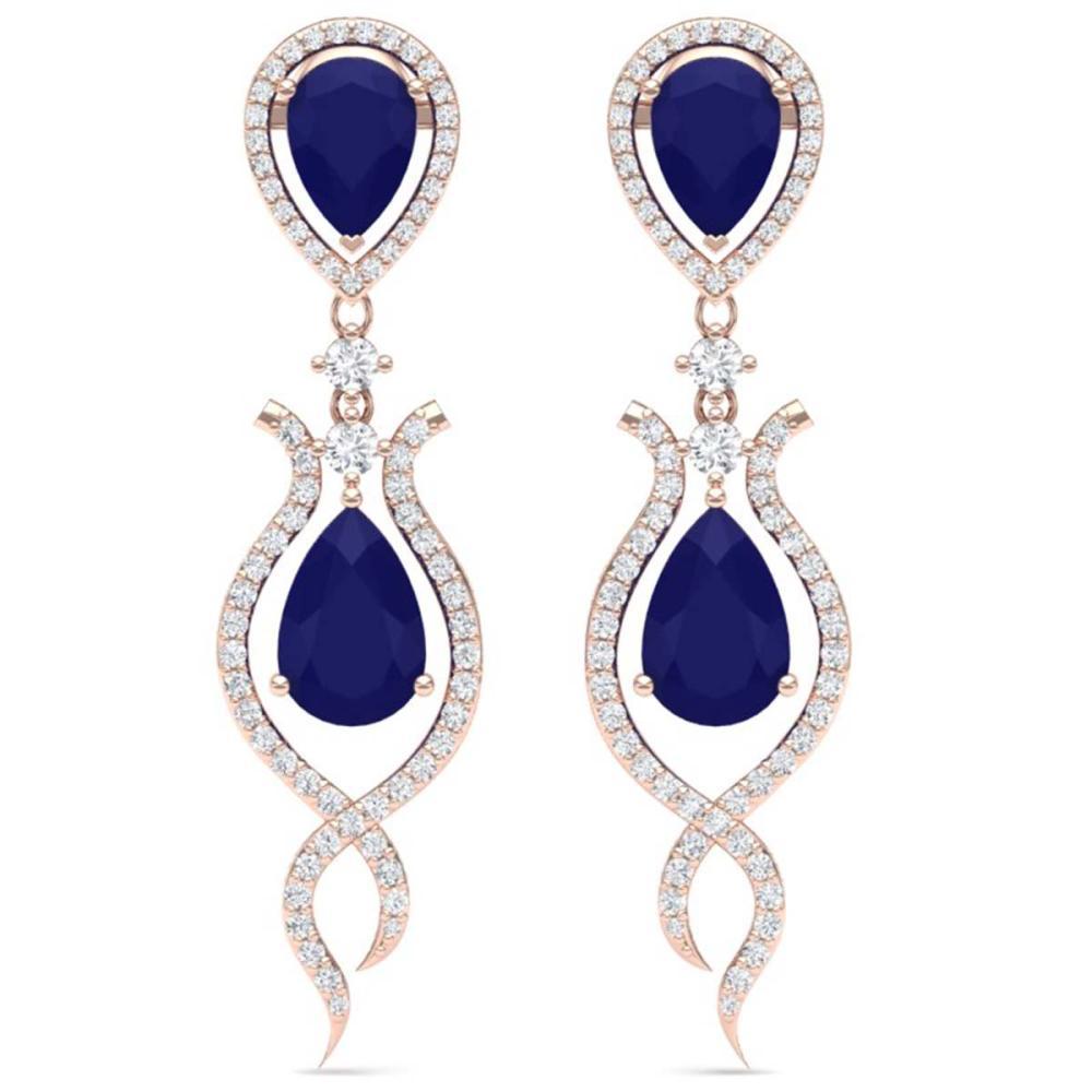 16.57 ctw Sapphire & VS Diamond Earrings 18K Rose Gold - REF-312H7M - SKU:39517