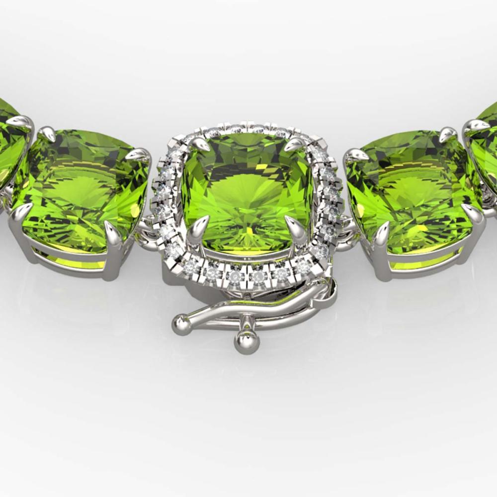 100 ctw Peridot & VS/SI Diamond Necklace 14K White Gold - REF-528R9K - SKU:23354