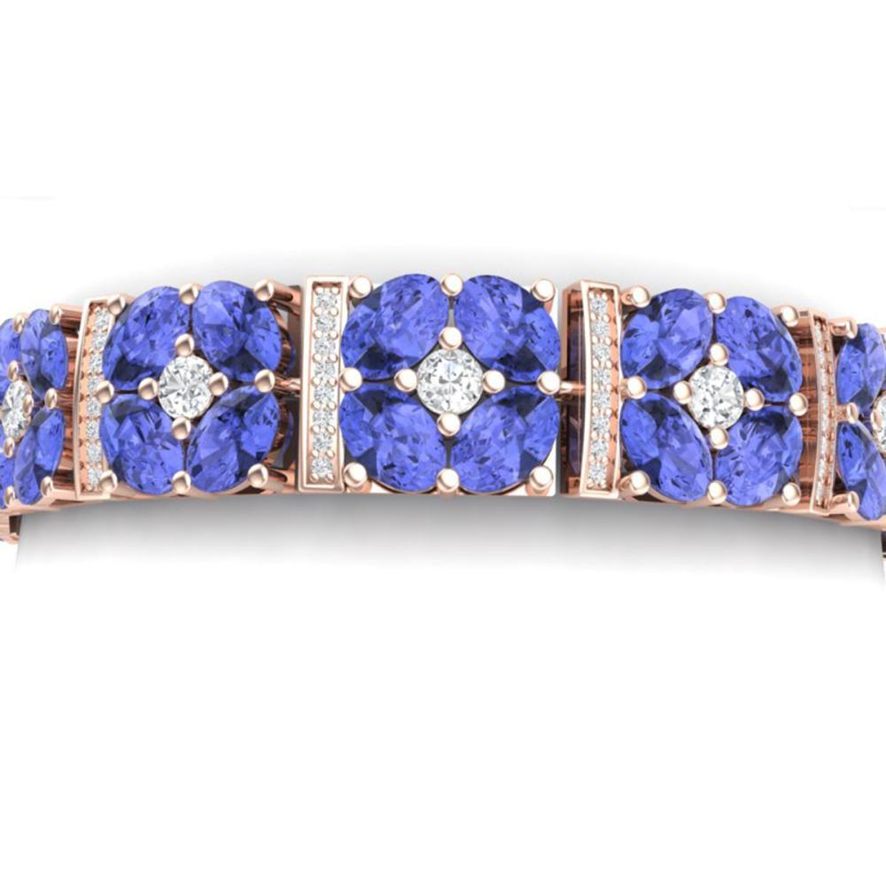 30.98 ctw Tanzanite & VS Diamond Bracelet 18K Rose Gold - REF-818N2A - SKU:39022