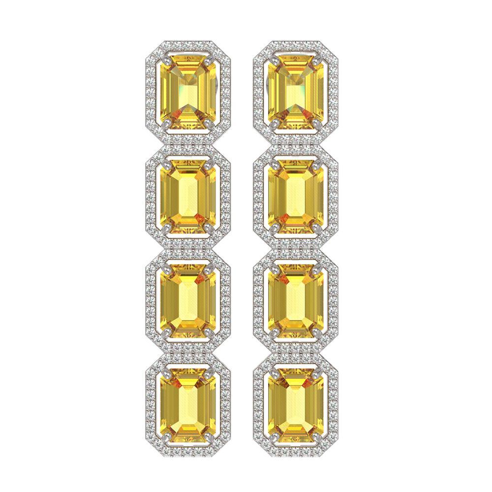 18.64 ctw Fancy Citrine & Diamond Halo Earrings 10K White Gold - REF-184X2R - SKU:41612