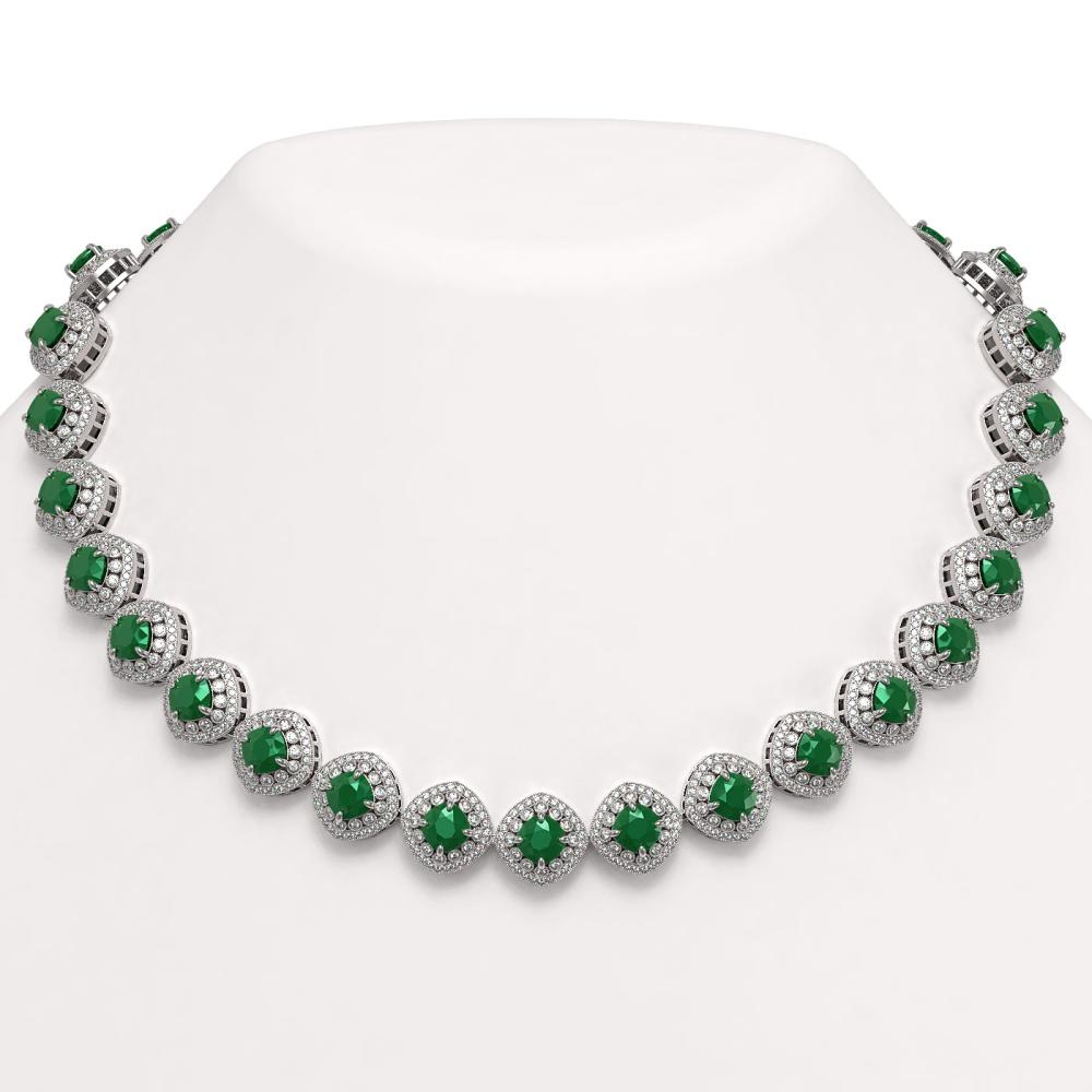 82.17 ctw Emerald & Diamond Necklace 14K White Gold - REF-2115Y8X - SKU:44096