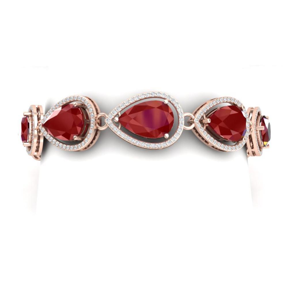 28.31 ctw Ruby & VS Diamond Bracelet 18K Rose Gold - REF-527V3Y - SKU:39559