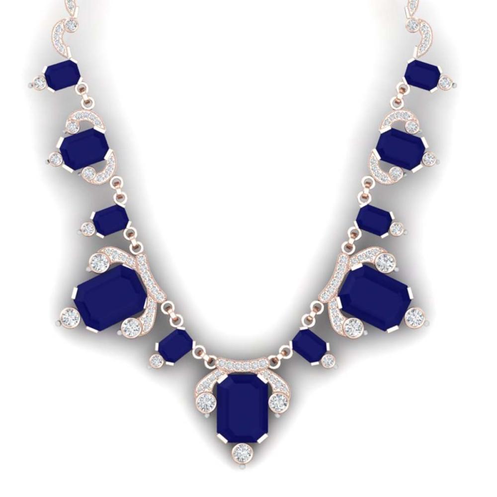 75.21 ctw Sapphire & VS Diamond Necklace 18K Rose Gold - REF-1072K7W - SKU:38752