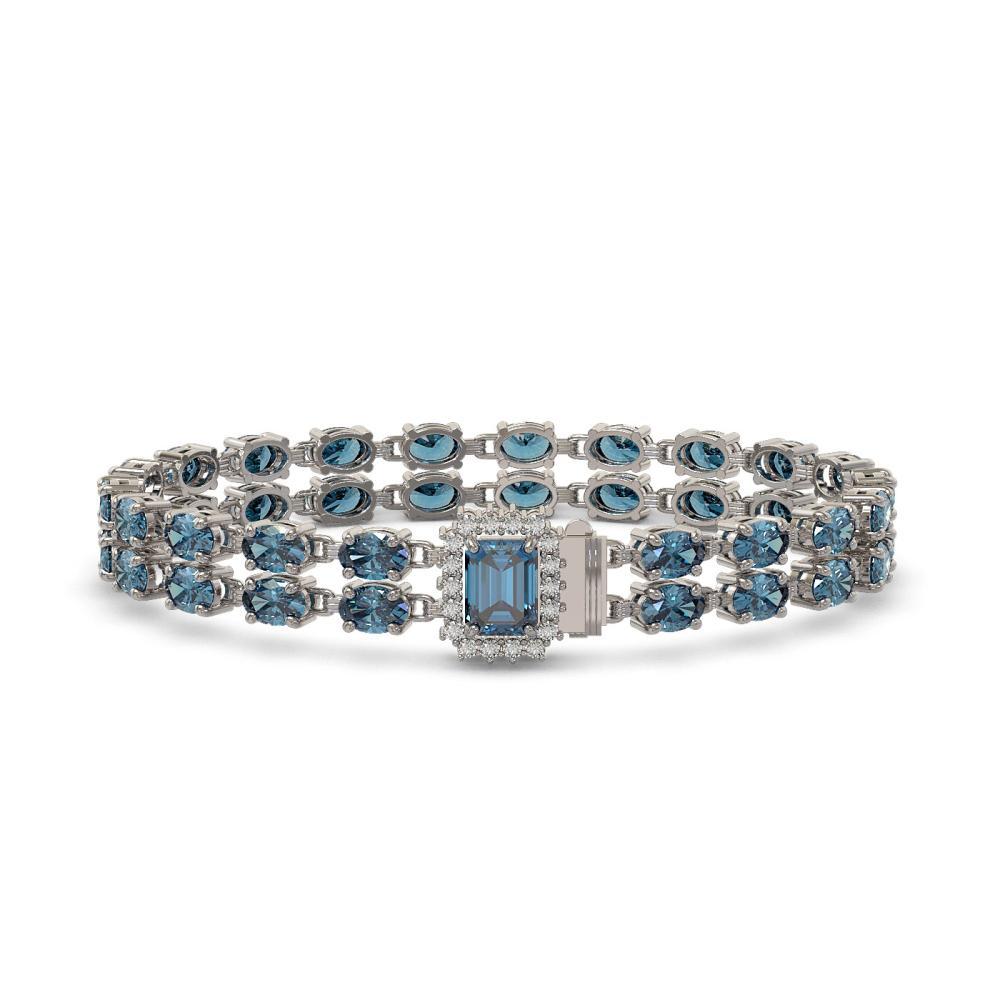 27.91 ctw London Topaz & Diamond Bracelet 14K White Gold - REF-196A2V - SKU:45800