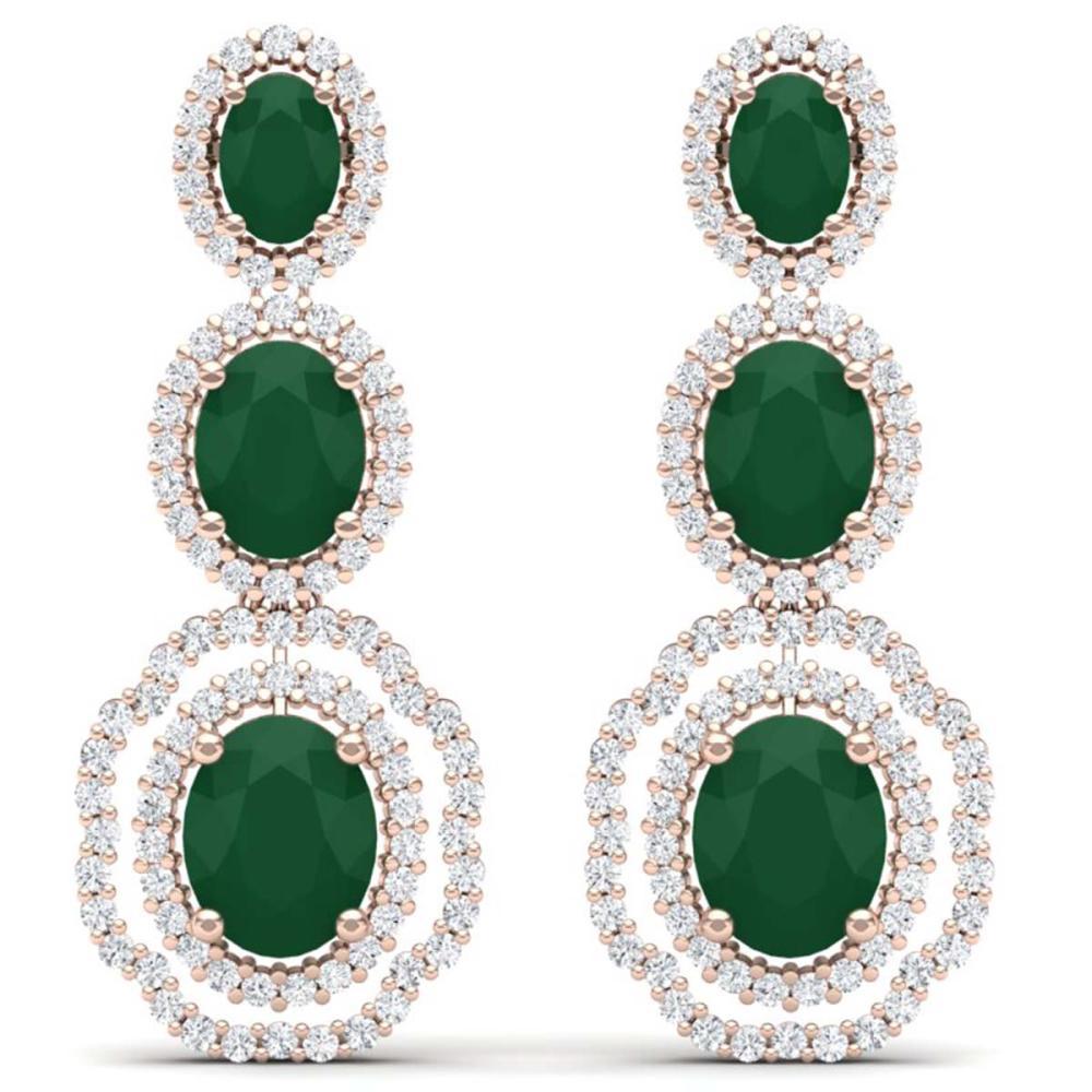 17.01 ctw Emerald & VS Diamond Earrings 18K Rose Gold - REF-418W2H - SKU:39202