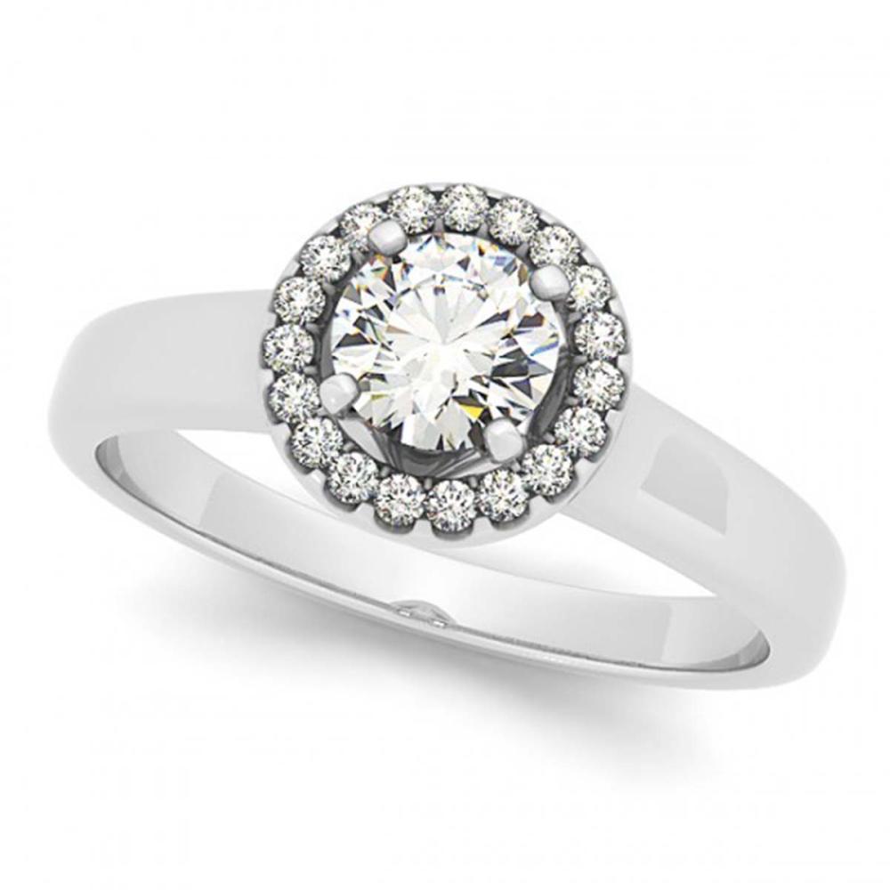 0.90 ctw VS/SI Diamond Halo Ring 18K White Gold - REF-141F5N - SKU:26155