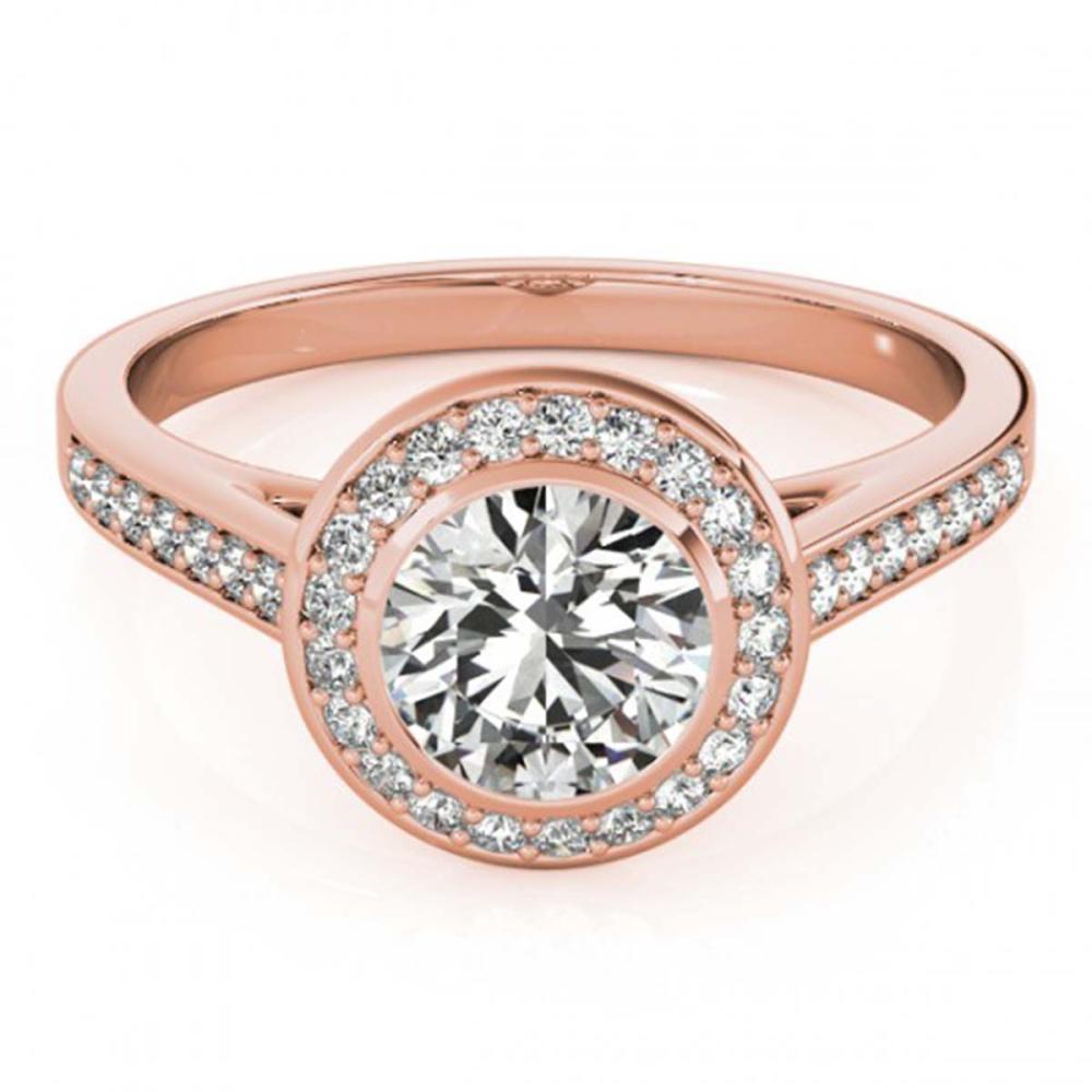 1.30 ctw VS/SI Diamond Halo Ring 18K Rose Gold - REF-289R2K - SKU:26417