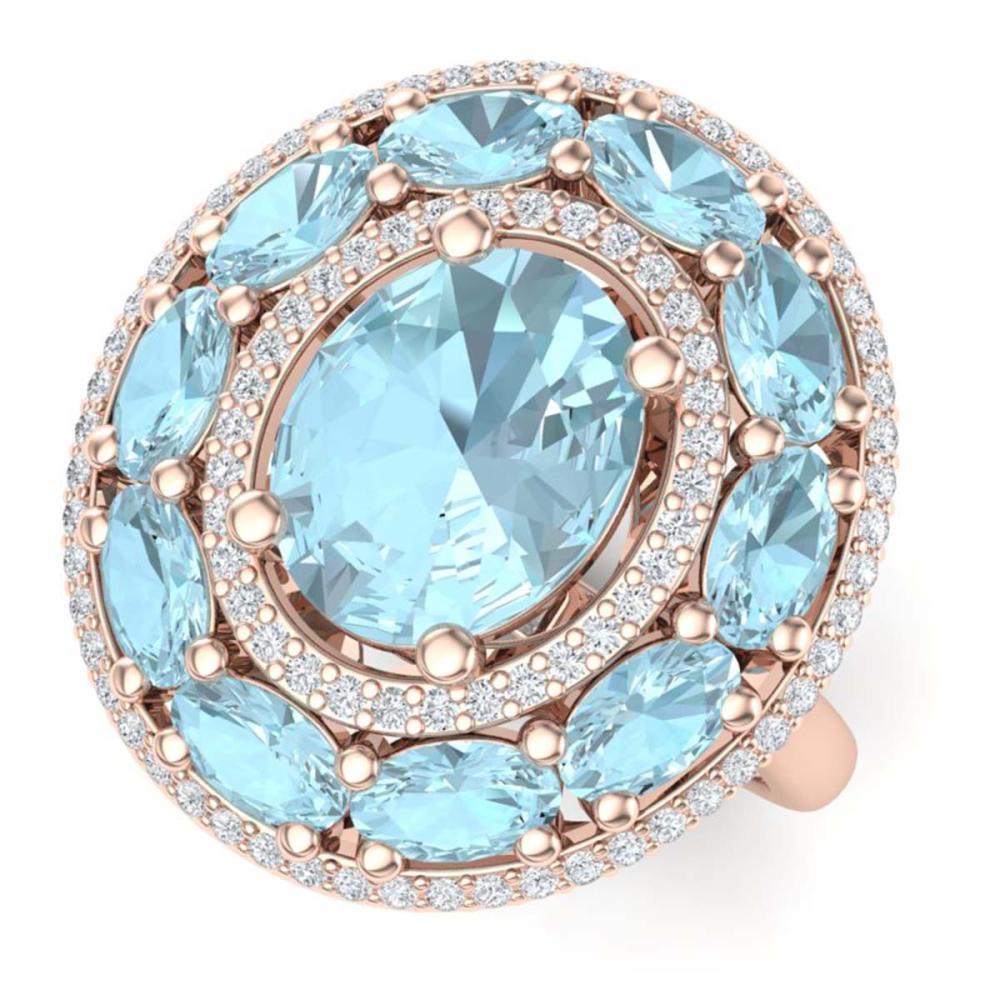 8.47 ctw Sky Topaz & VS Diamond Ring 18K Rose Gold - REF-127M3F - SKU:39250