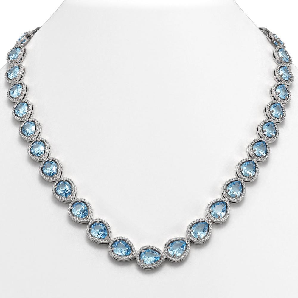 41.6 ctw Aquamarine & Diamond Halo Necklace 10K White Gold - REF-896A4V - SKU:41210