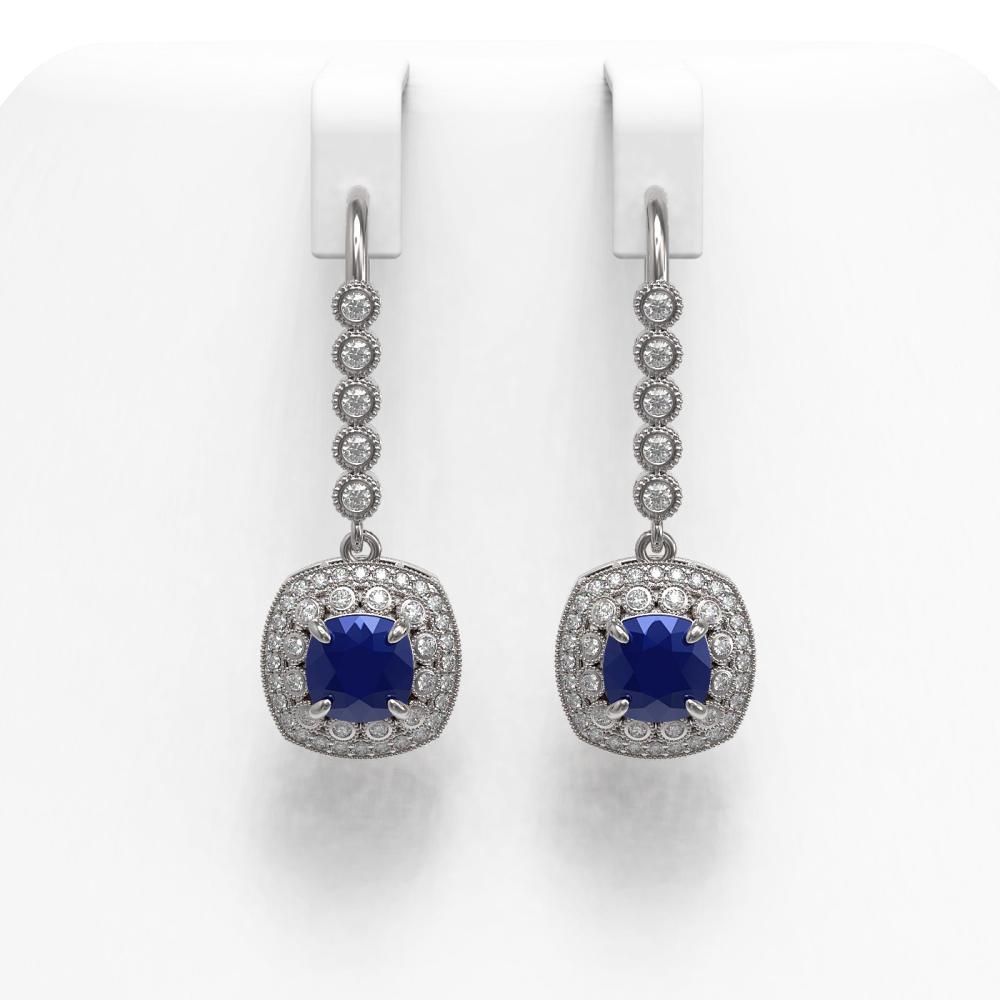5.1 ctw Sapphire & Diamond Earrings 14K White Gold - REF-132A9V - SKU:44054