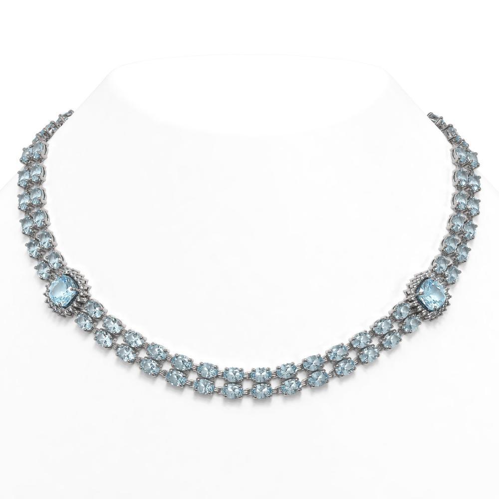 61.05 ctw Sky Topaz & Diamond Necklace 14K White Gold - REF-430W2H - SKU:45110
