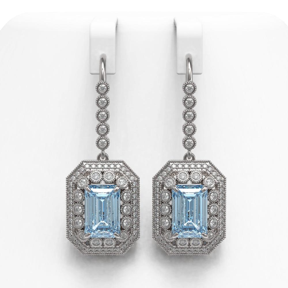 11.32 ctw Aquamarine & Diamond Earrings 14K White Gold - REF-311R5K - SKU:43400
