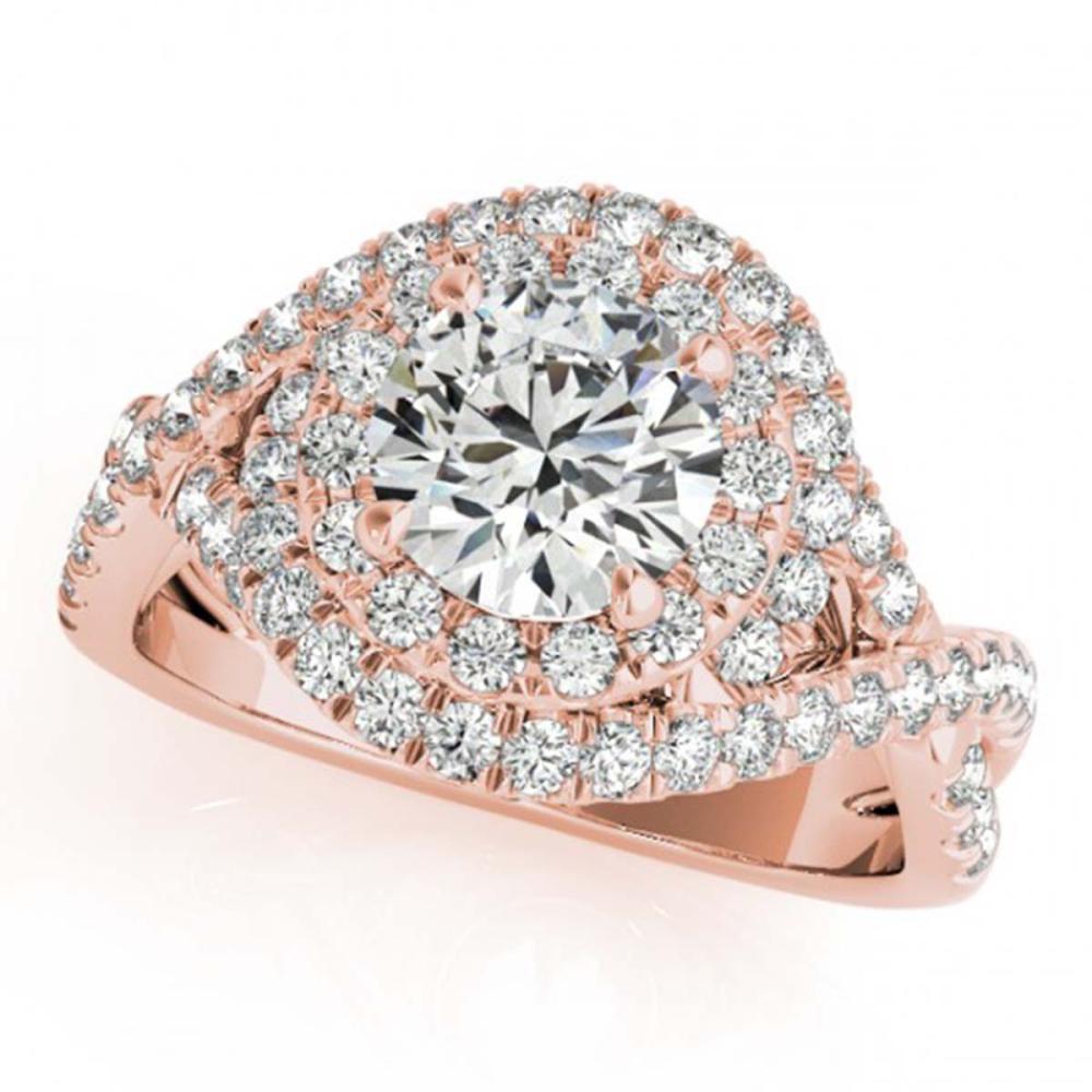 1.50 ctw VS/SI Diamond Halo Ring 18K Rose Gold - REF-185Y5X - SKU:26635