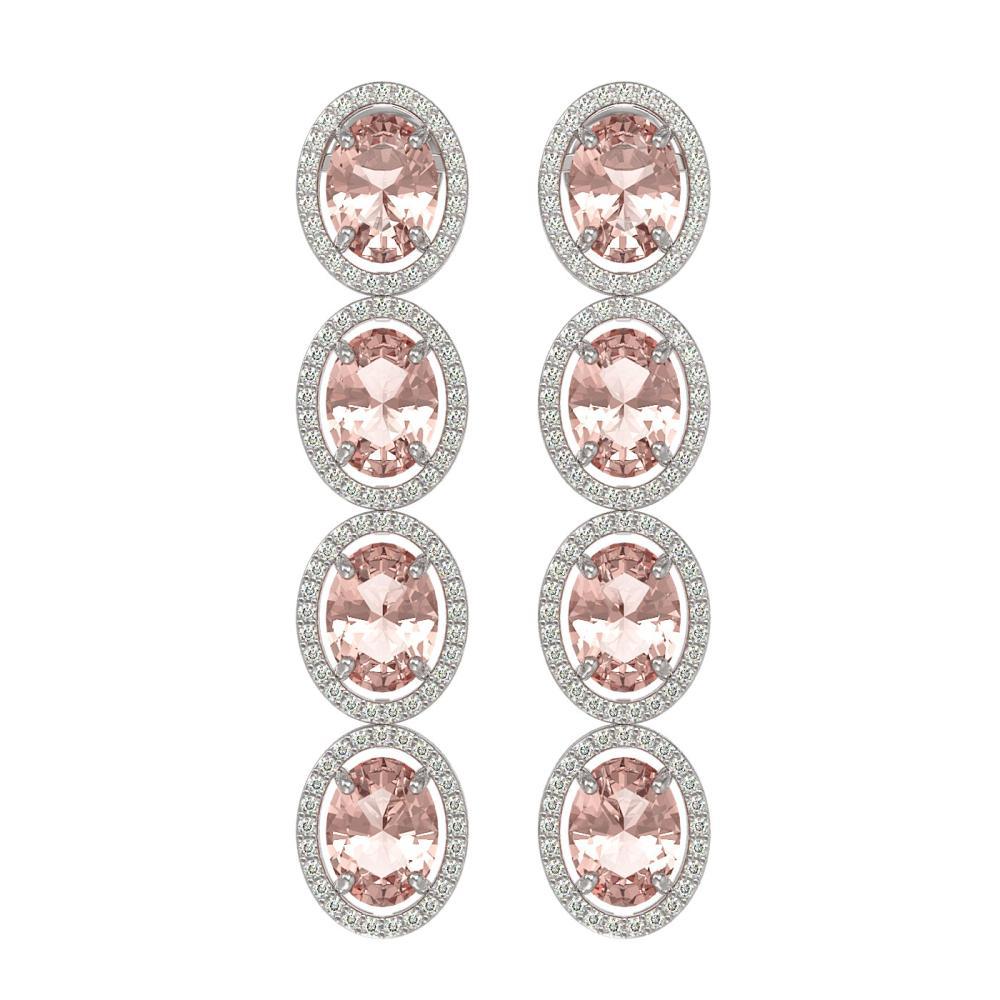 11.4 ctw Morganite & Diamond Halo Earrings 10K White Gold - REF-269F3N - SKU:40757