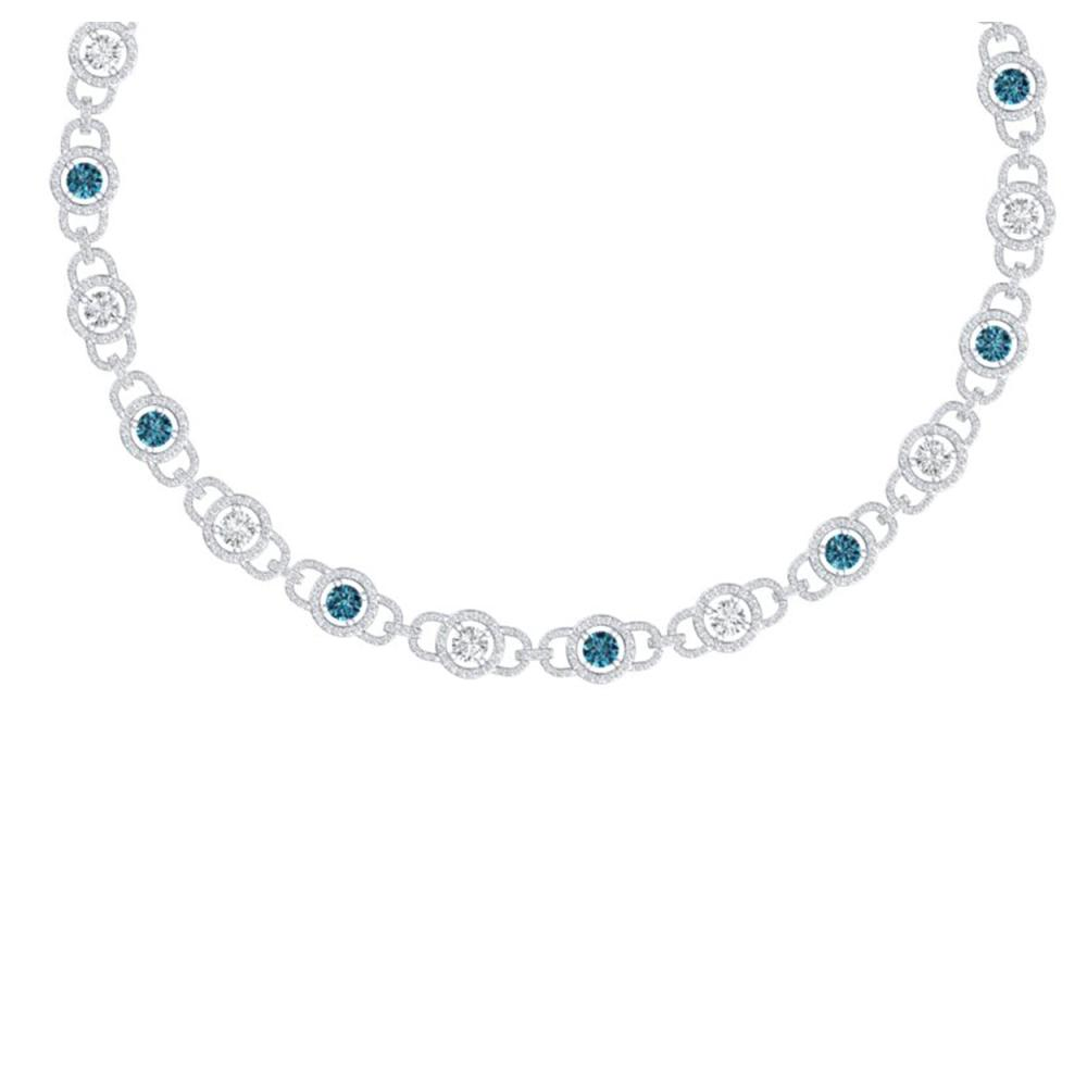 25 ctw SI/I Intense Blue And Diamond Necklace 18K White Gold - REF-2205W2H - SKU:40097