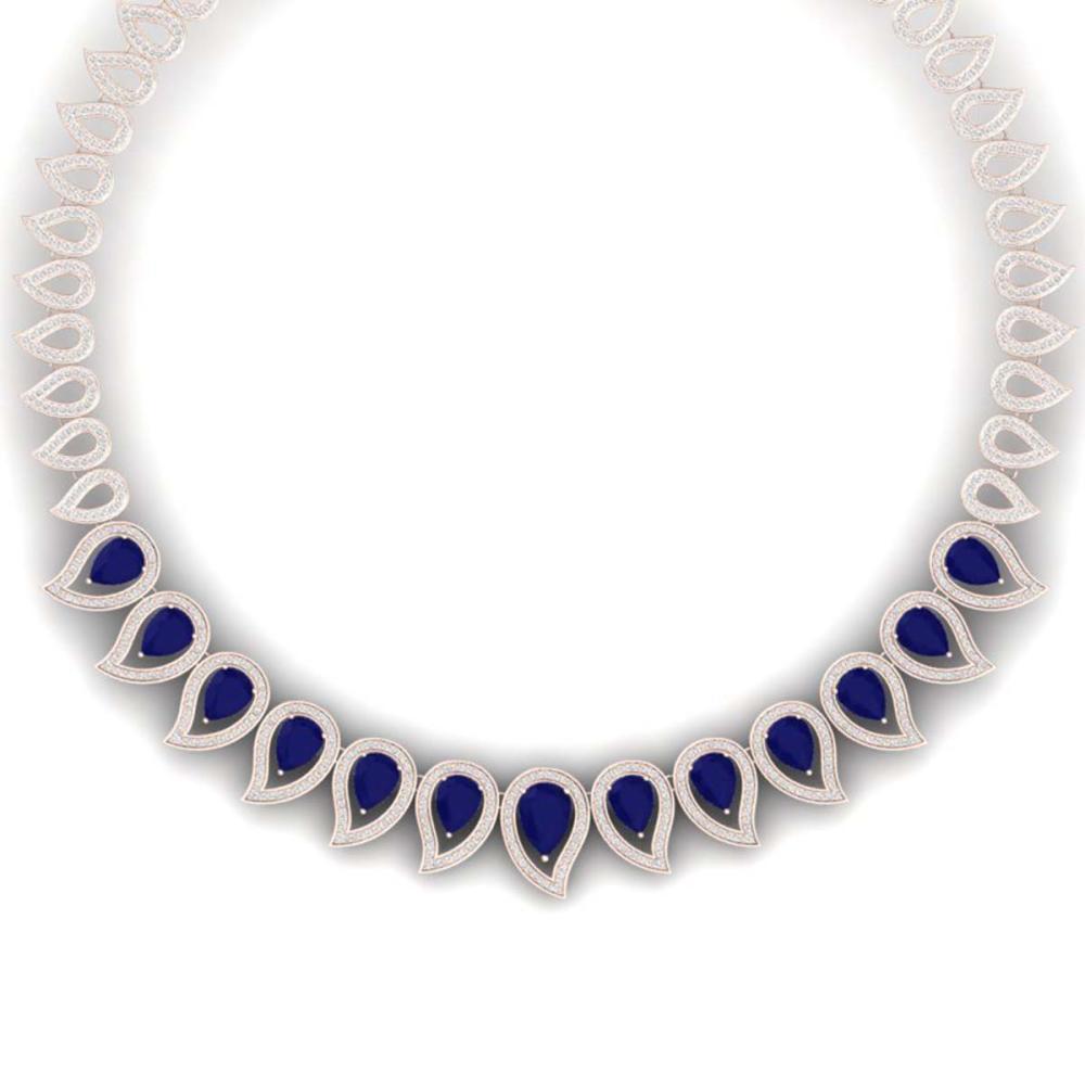 33.4 ctw Sapphire & VS Diamond Necklace 18K Rose Gold - REF-1200W2H - SKU:39442