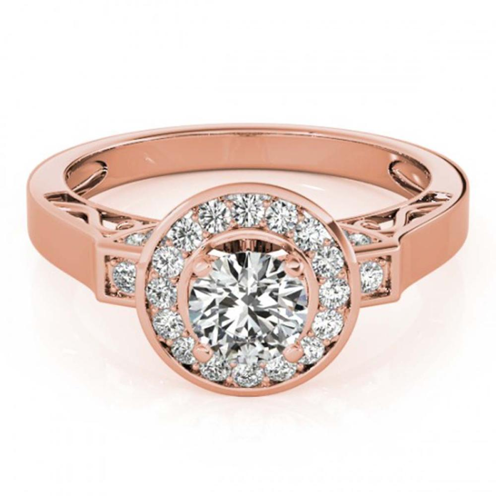 1.25 ctw VS/SI Diamond Halo Ring 18K Rose Gold - REF-165F2N - SKU:27082