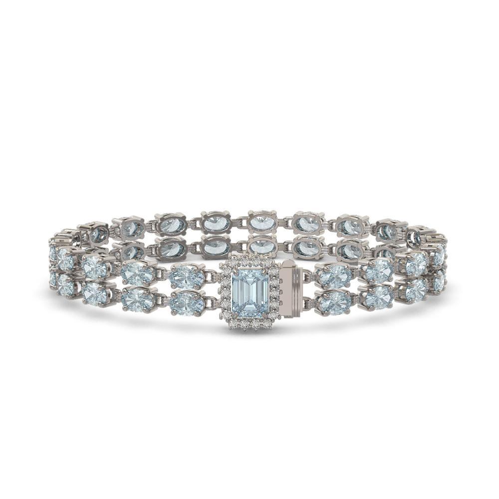 19.96 ctw Aquamarine & Diamond Bracelet 14K White Gold - REF-268A7V - SKU:45788