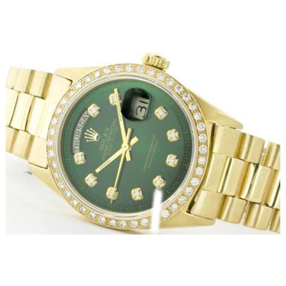 Rolex Men's 18K Yellow President, QuickSet, Diamond Dial & Diamond Bezel - REF-1391M6F