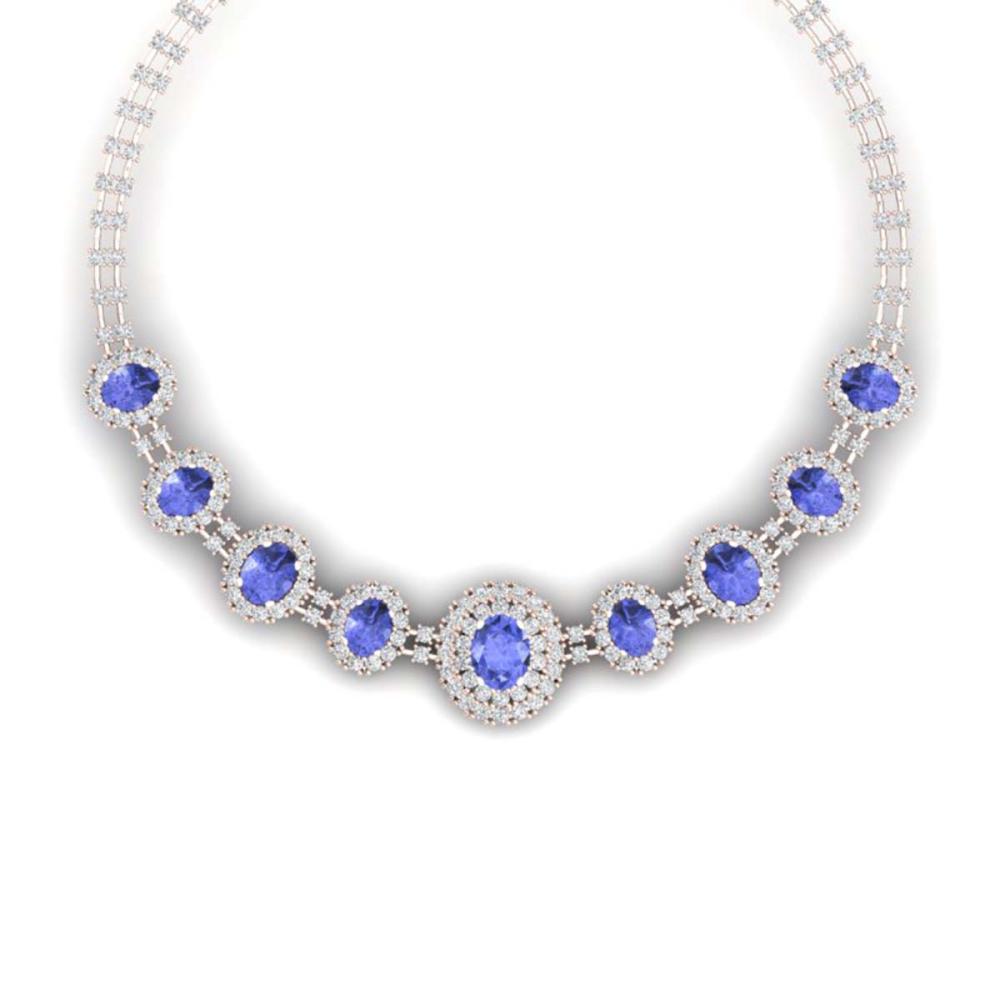 46.51 ctw Tanzanite & VS Diamond Necklace 18K Rose Gold - REF-1727H3M - SKU:38800