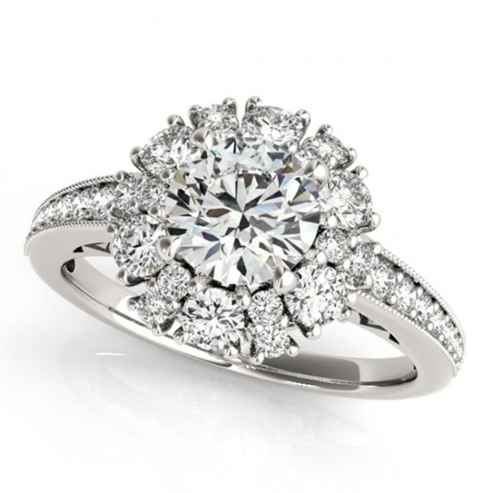 1.91 ctw VS/SI Diamond Halo Ring 18K White Gold - REF-197W4H - SKU:26727