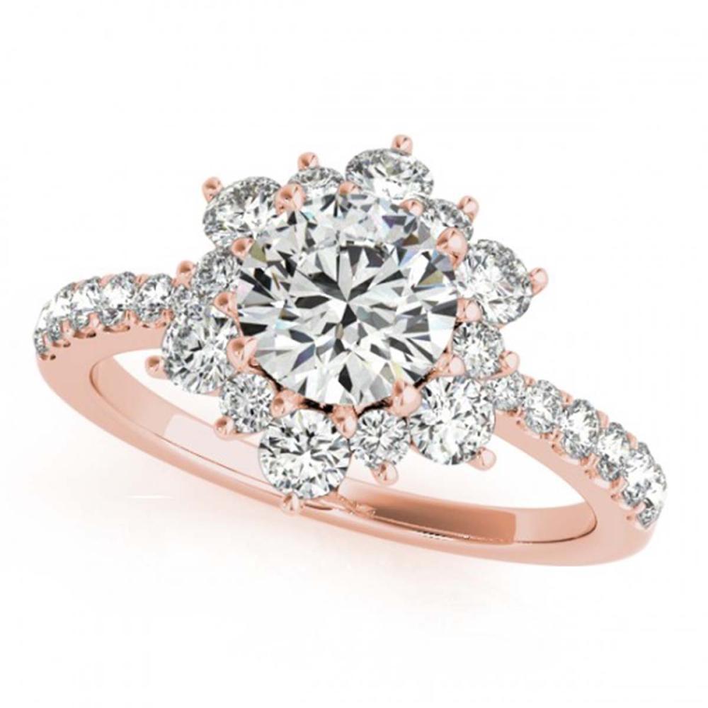 1.09 ctw VS/SI Diamond Halo Ring 18K Rose Gold - REF-113K2W - SKU:26501