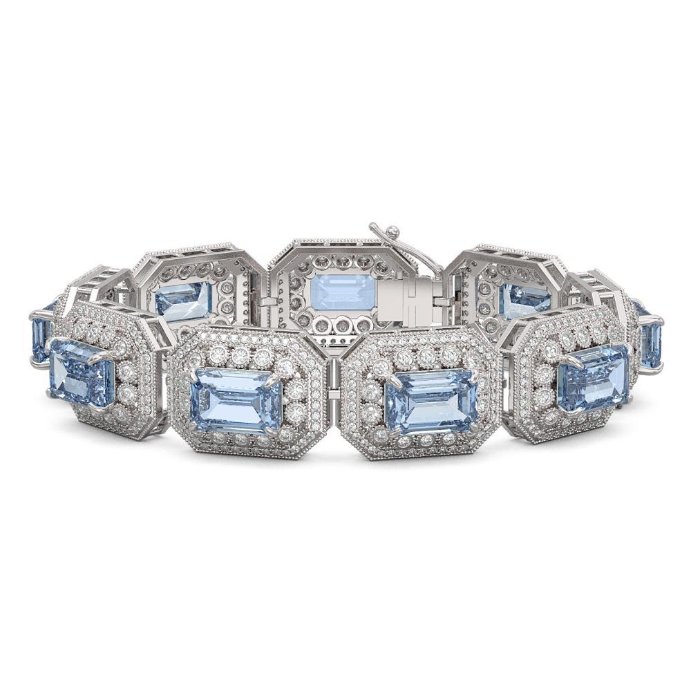 49.14 ctw Aquamarine & Diamond Bracelet 14K White Gold - REF-1361X5R - SKU:43496