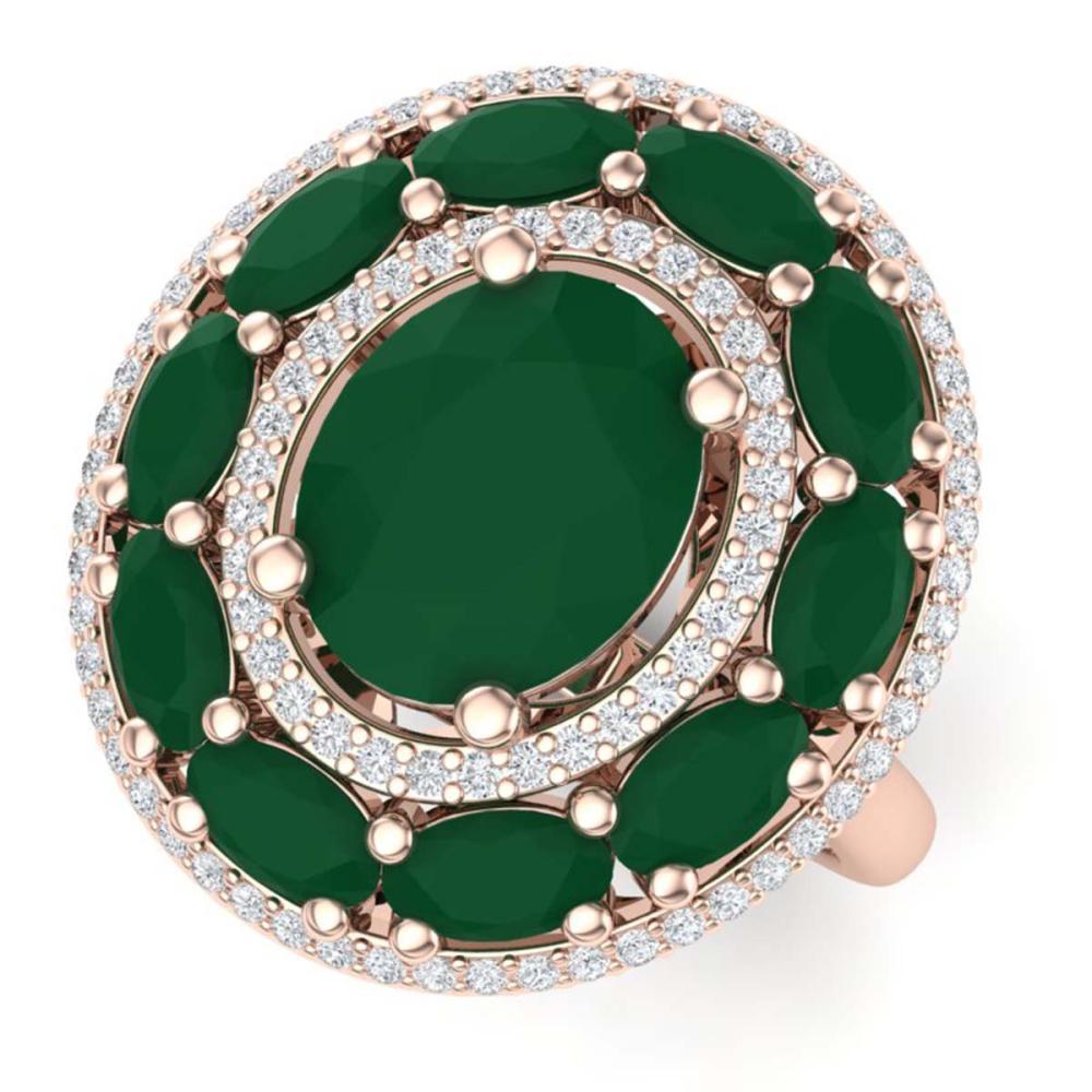 8.05 ctw Emerald & VS Diamond Ring 18K Rose Gold - REF-153X6R - SKU:39238