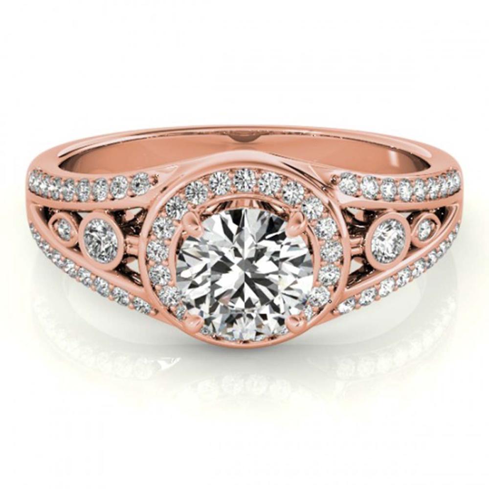 1.15 ctw VS/SI Diamond Halo Ring 18K Rose Gold - REF-163R6K - SKU:26743