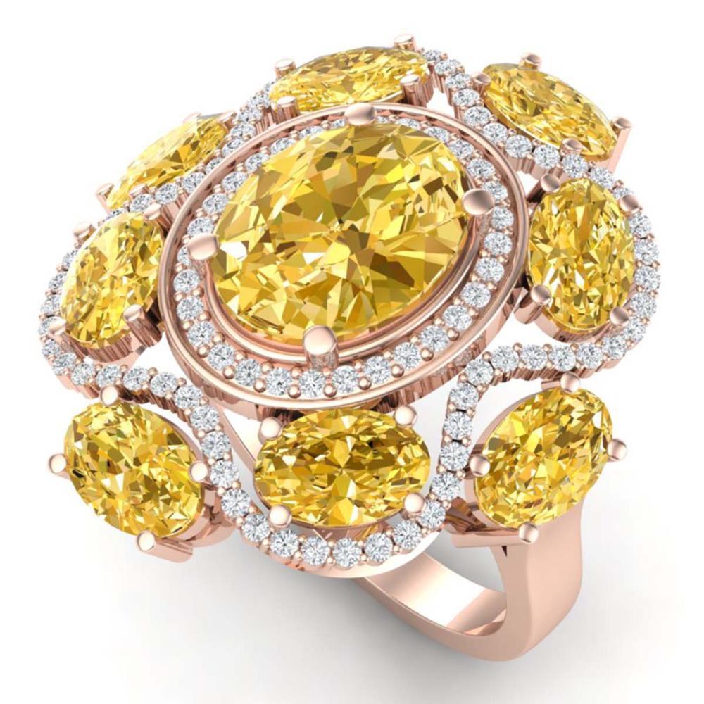 7.68 ctw Canary Citrine & VS Diamond Ring 18K Rose Gold - REF-178X2R - SKU:39307