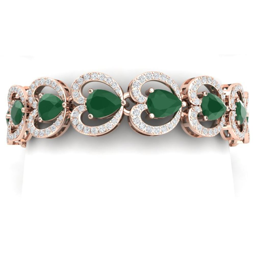 32.15 ctw Emerald & VS Diamond Bracelet 18K Rose Gold - REF-690R9K - SKU:38686